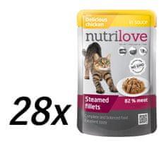 Nutrilove saszetki dla kota z kurczakiem 28 x 85g