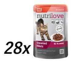 Nutrilove saszetki dla kota z wołowiną 28 x 85g