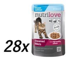 Nutrilove mokra mačja hrana, losos, 28x85g
