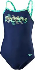 Speedo Strój Placement Thinstrap Muscleback Junior Navy/Jade/Green Glow