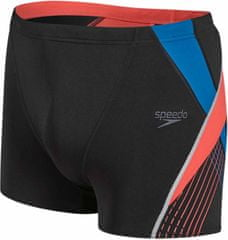 Speedo Kąpielówki Fit Splice Aquashort Black/Lava Red/Danube