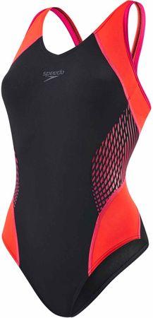 Speedo ženske enodelne kopalke Fit Splice, črno-roza, 38