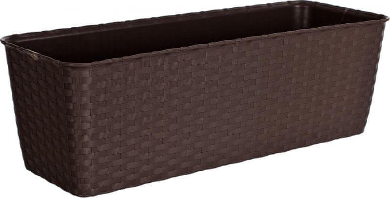 Stefanplast Samozavlažovací truhlík Natural 50 cm tmavě hnědý