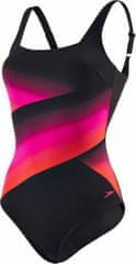 Speedo Strój Sculpture Auragleam 1 Piece Black/Electric Pink/Lava Red