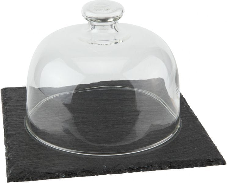 ILSA Podnos břidlice čtvercový 17cm se skleněným poklopem