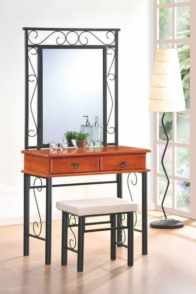 Toaletka CEBU se zrcadlem a taburetem, třešeň antická