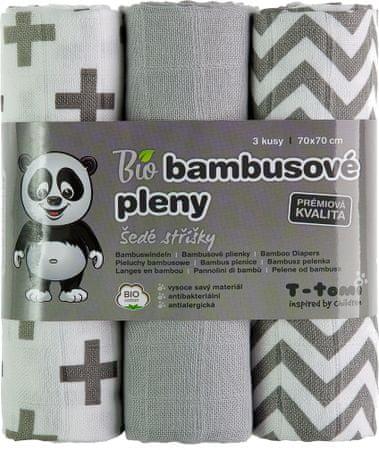 T-tomi BIO Bambusz Pelenka, szürke 3 db