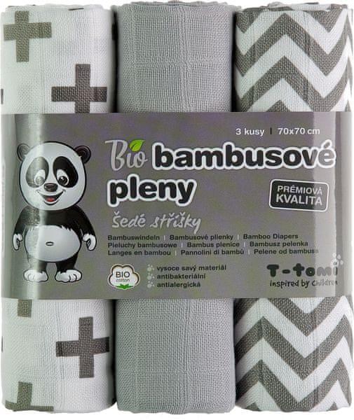 T-tomi BIO Bambusové pleny, šedé stříšky