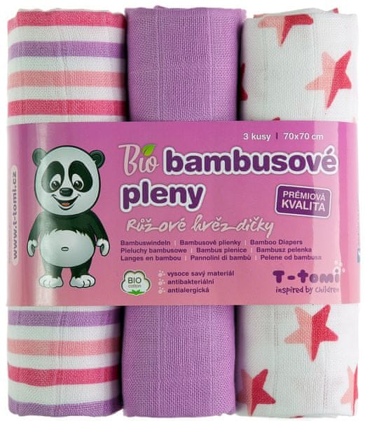 T-tomi BIO Bambusové pleny, růžové hvězdičky