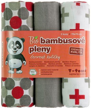 T-tomi BIO bambusove plenice, sivo-rdeči vzorci
