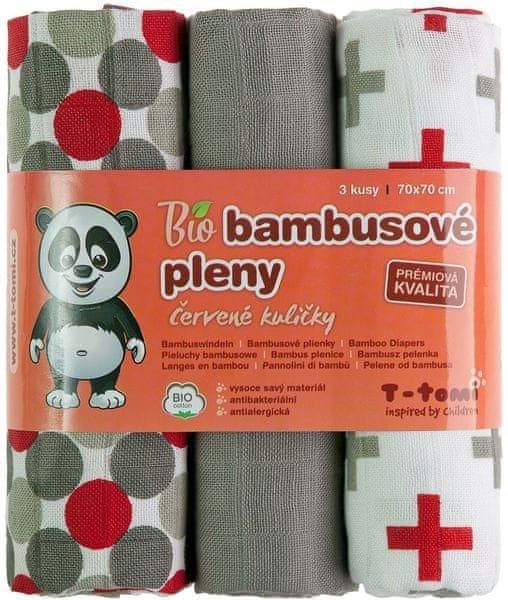T-tomi BIO Bambusové pleny, červené kuličky