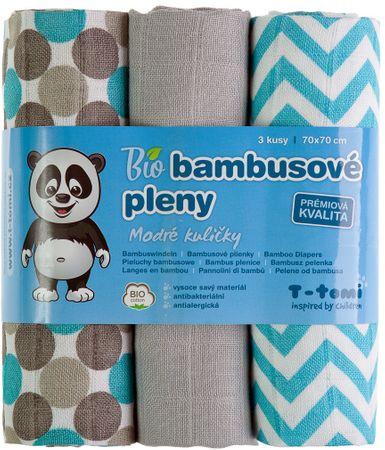 T-tomi BIO bambusove plenice, sivo-modri vzorci