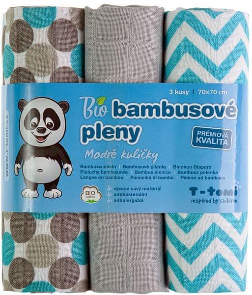 T-tomi BIO Bambusové pleny, modré kuličky
