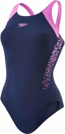 Speedo ženske enodelne kopalke Boom Splice, modro-roza, 34
