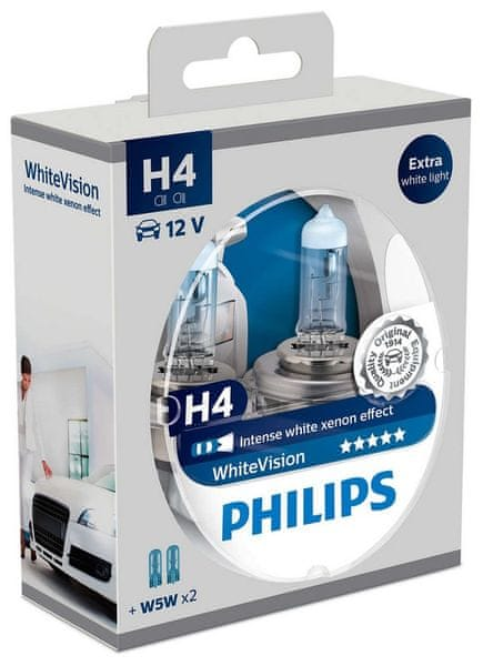 Philips WhiteVision H4, 12 V, 60/55 W, 2 ks