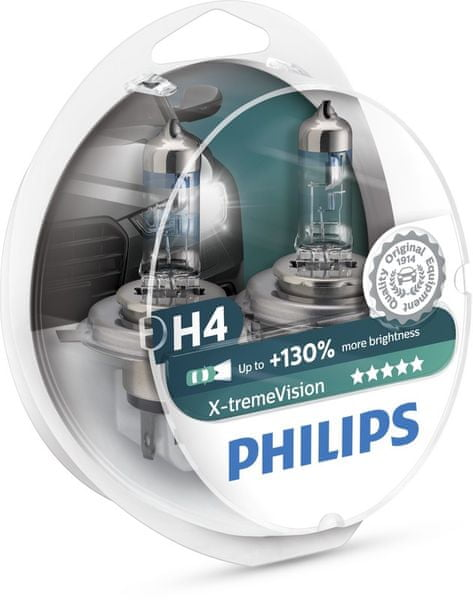 Philips X-tremeVision H4, 12 V, 60/55 W, 2 ks