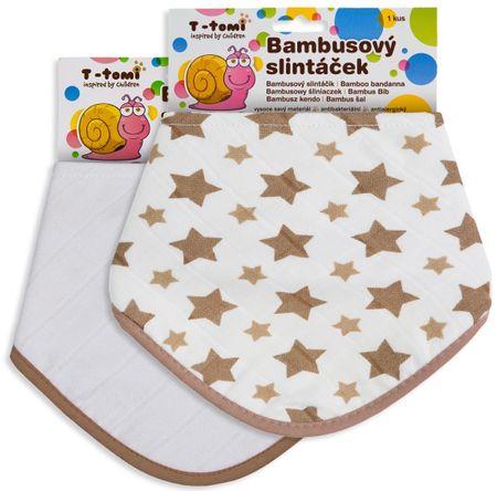T-tomi Bambusový slintáček béžové hvězdičky + bílý, 2ks