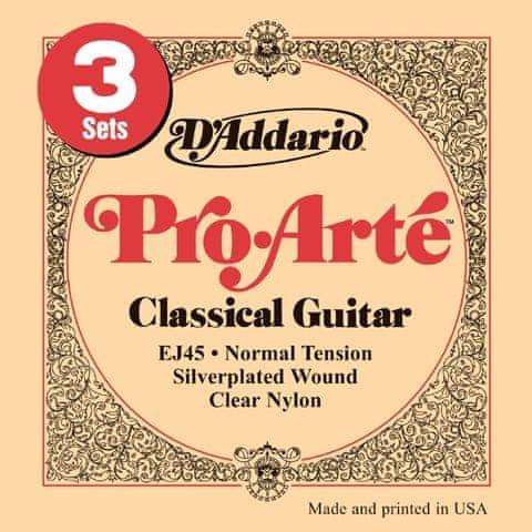 Daddario EJ45-3D Nylonové struny pro klasickou kytaru (3 sady)