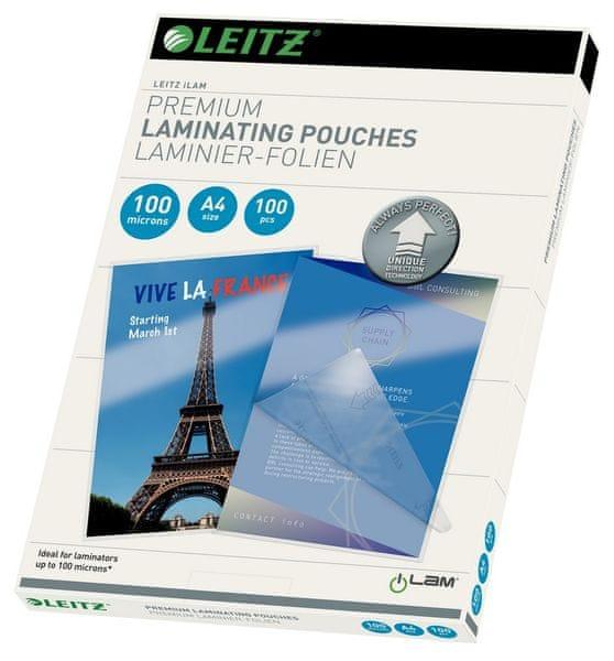 Fólie laminovací Leitz A4 se směrovací technologií, 100 mic / 100 ks