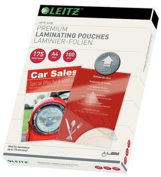 Fólie laminovací Leitz A4 se směrovací technologií, 175 mic / 100 ks