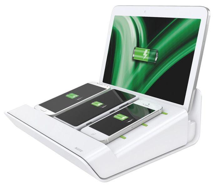 Multifunkční nabíječka XL Leitz Complete pro 1 tablet a 3 chytré telefony bílá