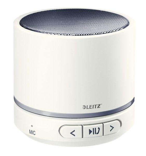 Přenosný mini Bluetooth reproduktor s mikrofonem Leitz WOW šedý/bílý