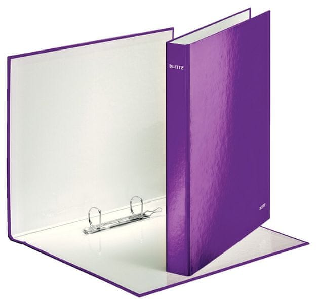 Pořadač kroužkový 2xD kroužky Leitz WOW purpurový