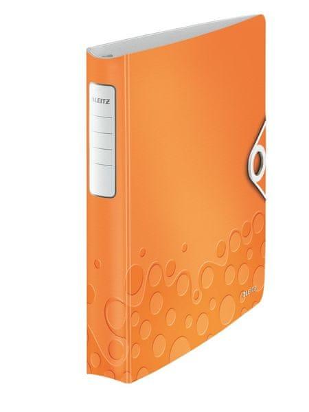 Mobilní kroužkový pořadač 4xD kroužky Leitz ACTIVE WOW 5,2 cm metalický oranžový