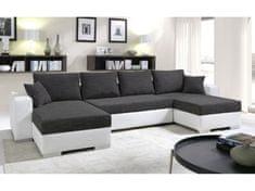 Rohová sedačka KENZO 3, černá/bílá ekokůže