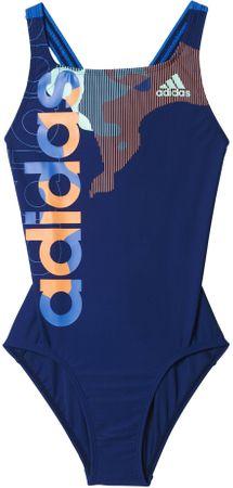 Adidas otroške kopalke By Lineage Suit, modre/oranžne, 140