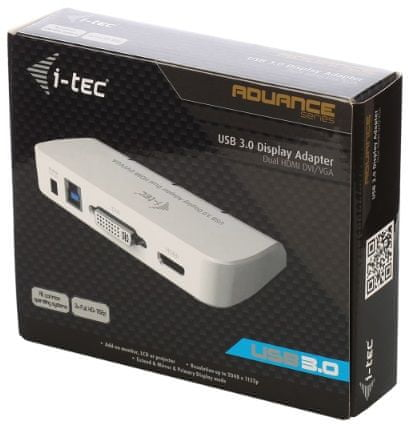 I-TEC Dual Display Adaptér (DVI/VGA/HDMI), bílá