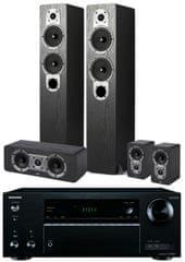 Onkyo TX-NR555, černá + Jamo S 426 HCS 3, černý jasan