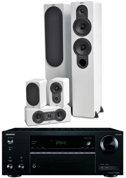 Onkyo TX-NR555, černá + Jamo S 426 HCS 3, bílý jasan
