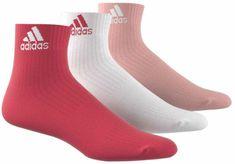 Adidas nogavice 3S Per An Hc, rdeče/roza/bele, 3 pari
