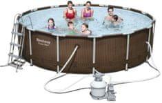 Bestway Bazén s konstrukcí Rattan 427x107 cm s pískovou filtrací