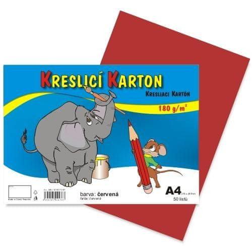 Karton kreslicí barevný A4 180g / 50l červený