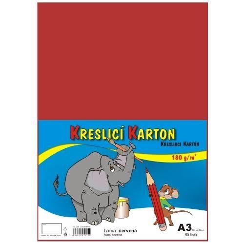 Karton kreslicí barevný A3 180g / 50l červený