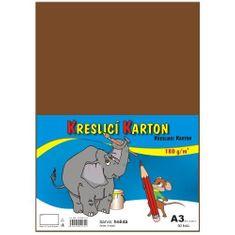 Karton kreslicí barevný A3 180g / 50l hnědý