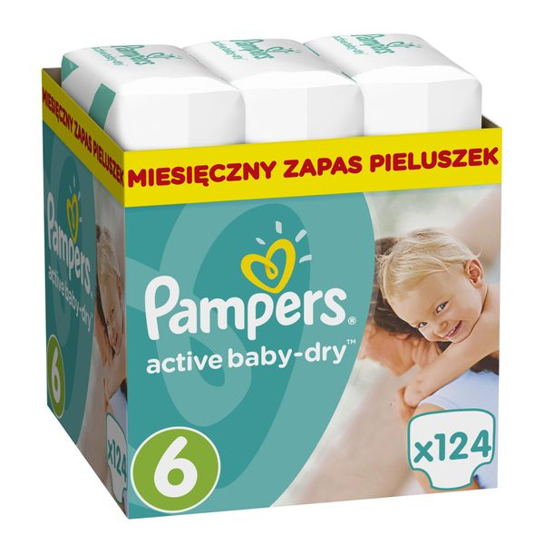 Pampers Pleny Active Baby 6 Extra Large (15+kg) Měsíční balení - 124 ks