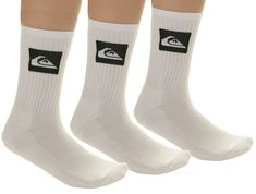 Quiksilver 3 Pack Crew M Sock White