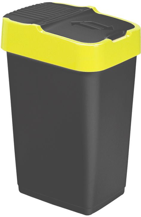 Heidrun Odpadkový koš 35 l, černý se žlutým pruhem