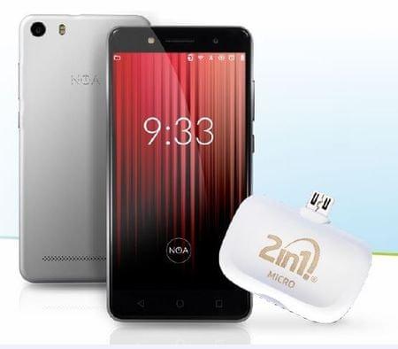 NOA GSM telefon H3se LTE, srebrn + darilo: merilnik glukoze