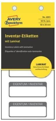 Avery Zweckform etikete za označevanje inventarja z zaščitno folijo, 50x20 mm, črna obroba, 6901