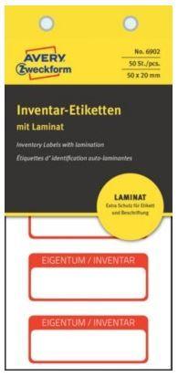 Avery Zweckform etikete za označevanje inventarja z zaščitno folijo, 50x20 mm, rdeča obroba, 6902