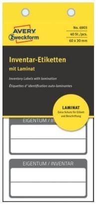 Avery Zweckform etikete za ozačevanje inventarja z zaščitno folijo, 60x30 mm, črna obroba, 6903