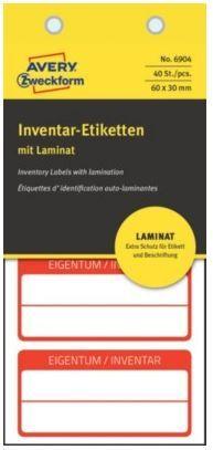 Avery Zweckform etikete za označevanje inventarja z zaščitno folijo, 60x30 mm, rdeča obroba, 6904