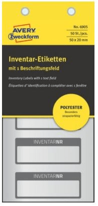 Avery Zweckform etikete za označavanje inventara, srebrne poliesterske, crni rub, 50x20 mm, 6905