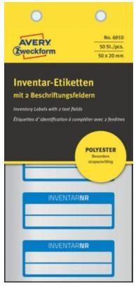 Avery Zweckform etikete za označevanje inventarja, srebrne poliestrske, modra obroba, 50x20 mm, 6910