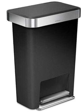 Simplehuman prostokątny kosz na śmieci, 45 l, czarny/srebrny