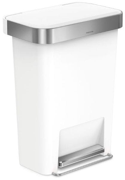 Simplehuman Pedálový odpadkový koš 45 l, obdélníkový, bílá/stříbrná